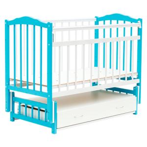 кроватка маятник с ящиком голубая