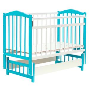 кроватка маятник без ящика голубая