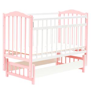 кроватка маятник без ящика розовая